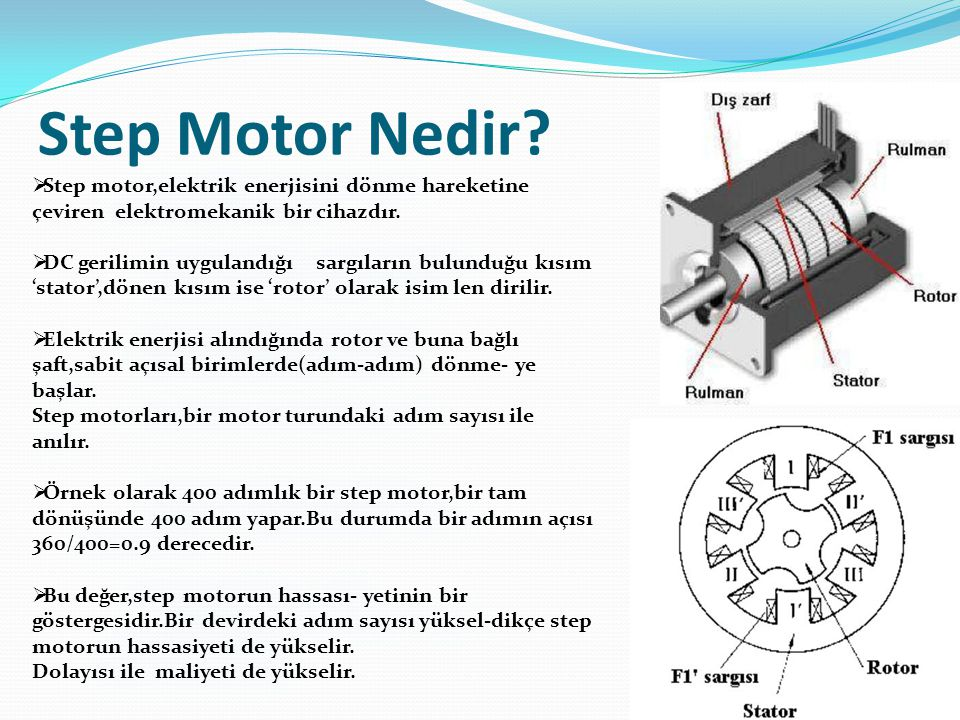 Step Motor Nedir?  Step motor,elektrik enerjisini dönme hareketine çeviren elektromekanik bir cihazdır.  DC gerilimin uygulandığı sargıların bulundu