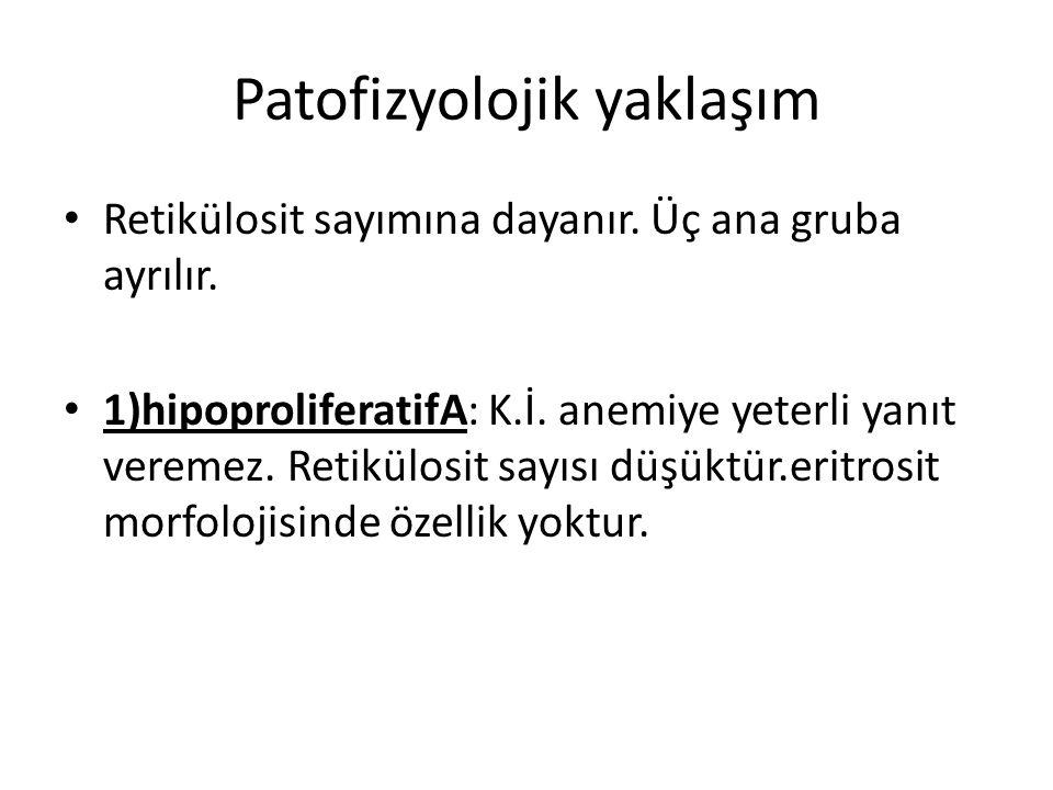 Patofizyolojik yaklaşım Retikülosit sayımına dayanır. Üç ana gruba ayrılır. 1)hipoproliferatifA: K.İ. anemiye yeterli yanıt veremez. Retikülosit sayıs