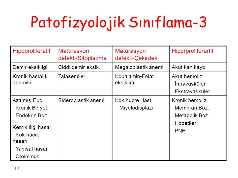 16 Patofizyolojik Sınıflama-3 HipoproliferatifMatürasyon defekti-Sitoplazma Matürasyon defekti-Çekirdek Hiperproliferartif Demir eksikliğiCiddi demir eksik.Megaloblastik anemiAkut kan kaybı Kronik hastalık anemisi TalasemilerKobalamin-Folat eksikliği Akut hemoliz İntravasküler Ekstravasküler Azalmış Epo Kronik Bb yet.