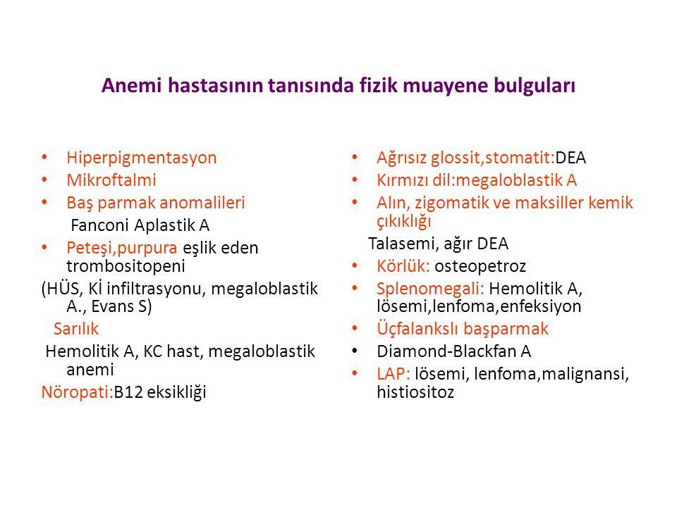 Anemi hastasının tanısında fizik muayene bulguları Hiperpigmentasyon Mikroftalmi Baş parmak anomalileri Fanconi Aplastik A Peteşi,purpura eşlik eden trombositopeni (HÜS, Kİ infiltrasyonu, megaloblastik A., Evans S) Sarılık Hemolitik A, KC hast, megaloblastik anemi Nöropati:B12 eksikliği Ağrısız glossit,stomatit:DEA Kırmızı dil:megaloblastik A Alın, zigomatik ve maksiller kemik çıkıklığı Talasemi, ağır DEA Körlük: osteopetroz Splenomegali: Hemolitik A, lösemi,lenfoma,enfeksiyon Üçfalankslı başparmak Diamond-Blackfan A LAP: lösemi, lenfoma,malignansi, histiositoz