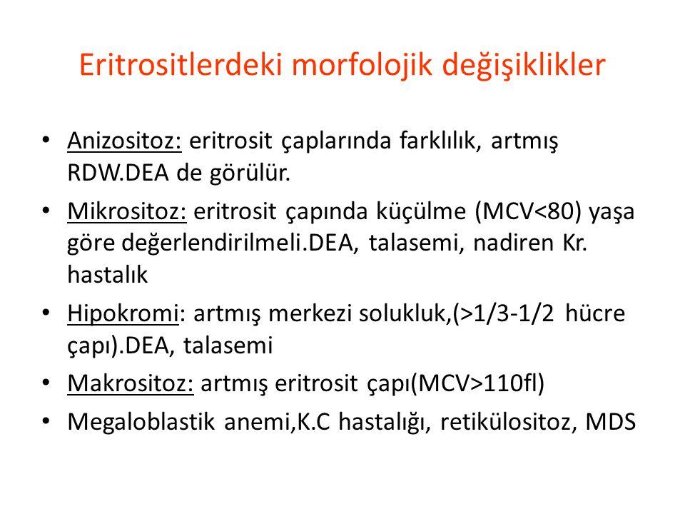 Eritrositlerdeki morfolojik değişiklikler Anizositoz: eritrosit çaplarında farklılık, artmış RDW.DEA de görülür. Mikrositoz: eritrosit çapında küçülme