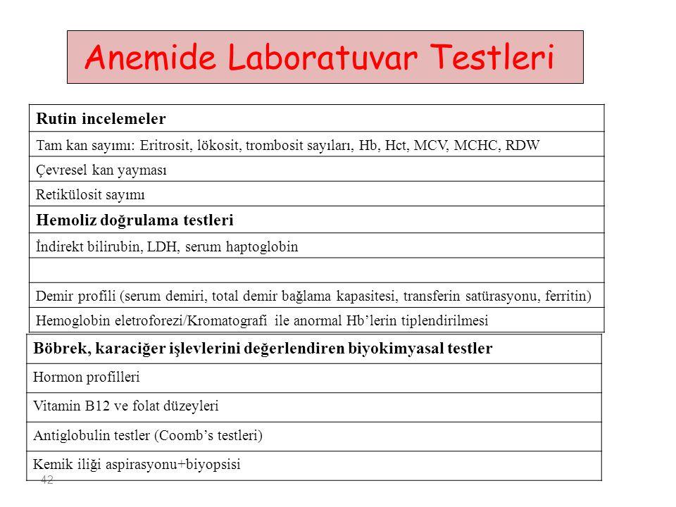 42 Rutin incelemeler Tam kan sayımı: Eritrosit, lökosit, trombosit sayıları, Hb, Hct, MCV, MCHC, RDW Çevresel kan yayması Retikülosit sayımı Hemoliz doğrulama testleri İndirekt bilirubin, LDH, serum haptoglobin Demir profili (serum demiri, total demir bağlama kapasitesi, transferin satürasyonu, ferritin) Hemoglobin eletroforezi/Kromatografi ile anormal Hb'lerin tiplendirilmesi Anemide Laboratuvar Testleri Böbrek, karaciğer işlevlerini değerlendiren biyokimyasal testler Hormon profilleri Vitamin B12 ve folat düzeyleri Antiglobulin testler (Coomb's testleri) Kemik iliği aspirasyonu+biyopsisi