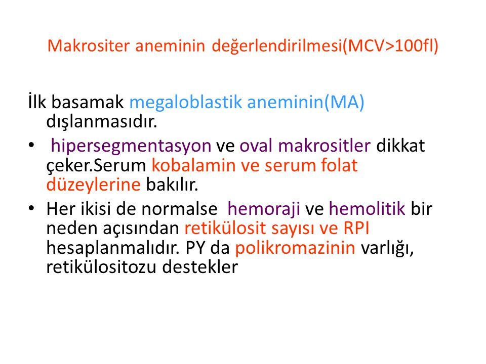 Makrositer aneminin değerlendirilmesi(MCV>100fl) İlk basamak megaloblastik aneminin(MA) dışlanmasıdır.
