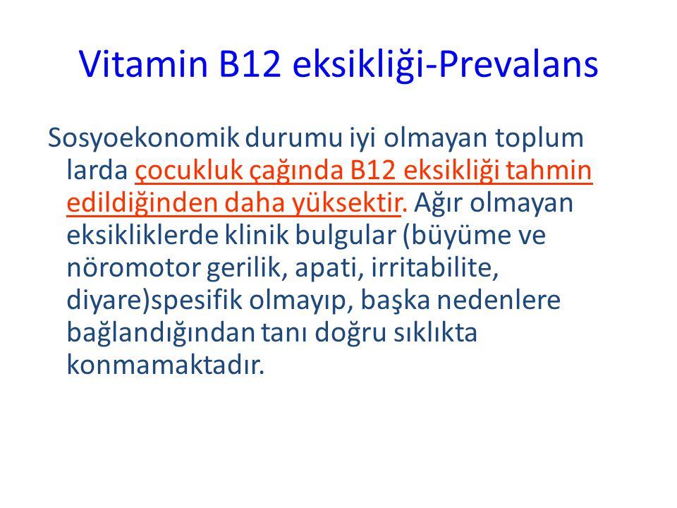 Vitamin B12 eksikliği-Prevalans Sosyoekonomik durumu iyi olmayan toplum larda çocukluk çağında B12 eksikliği tahmin edildiğinden daha yüksektir. Ağır
