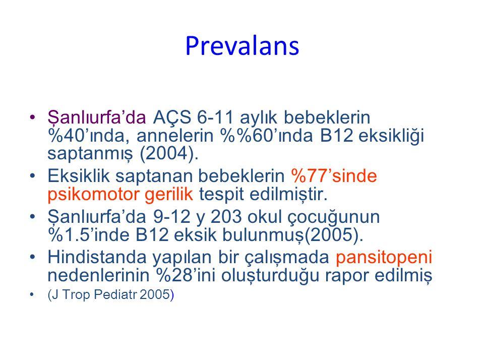 Prevalans Şanlıurfa'da AÇS 6-11 aylık bebeklerin %40'ında, annelerin %60'ında B12 eksikliği saptanmış (2004).
