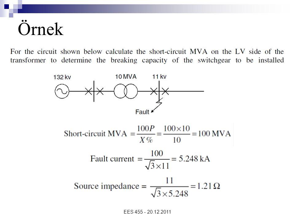 EES 455 - 20.12.2011 …Örnekler 154 kV Bornova barasında 3 faz kısa devre akımı : I kd = 19,459 pu olarak verilmiştir.