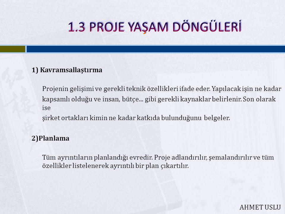 1) Kavramsallaştırma Projenin gelişimi ve gerekli teknik özellikleri ifade eder.