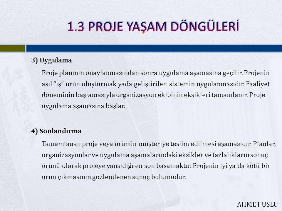 3) Uygulama Proje planının onaylanmasından sonra uygulama aşamasına geçilir.
