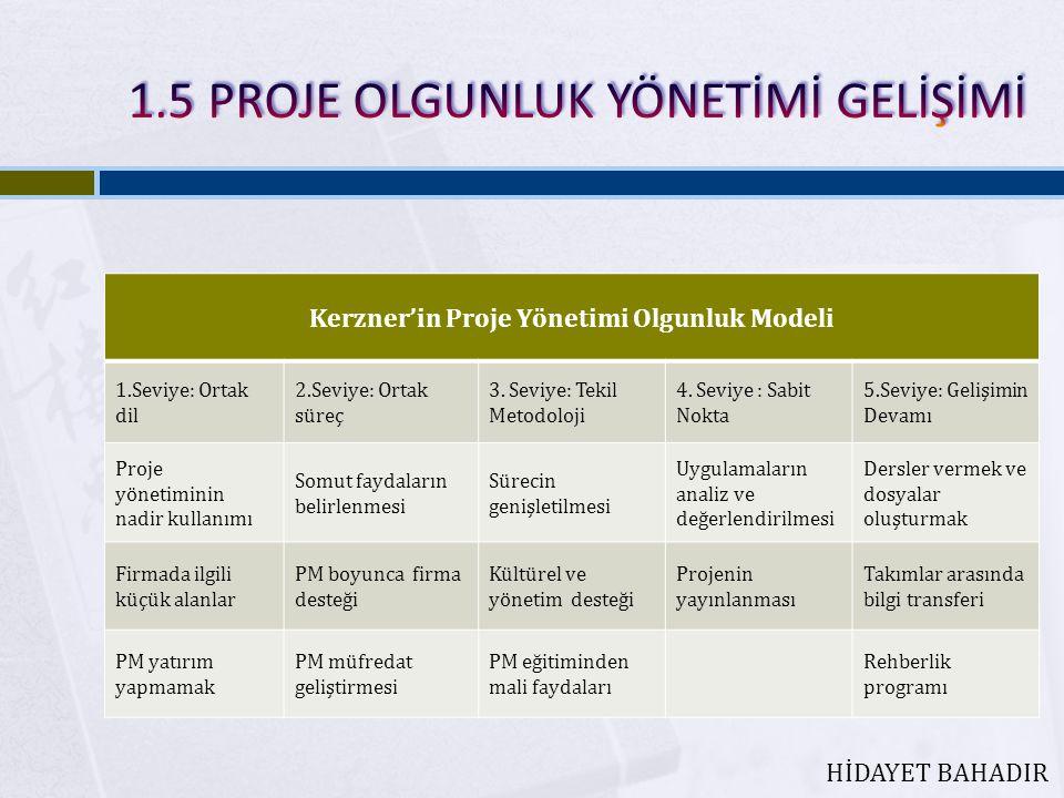 Kerzner'in Proje Yönetimi Olgunluk Modeli 1.Seviye: Ortak dil 2.Seviye: Ortak süreç 3.