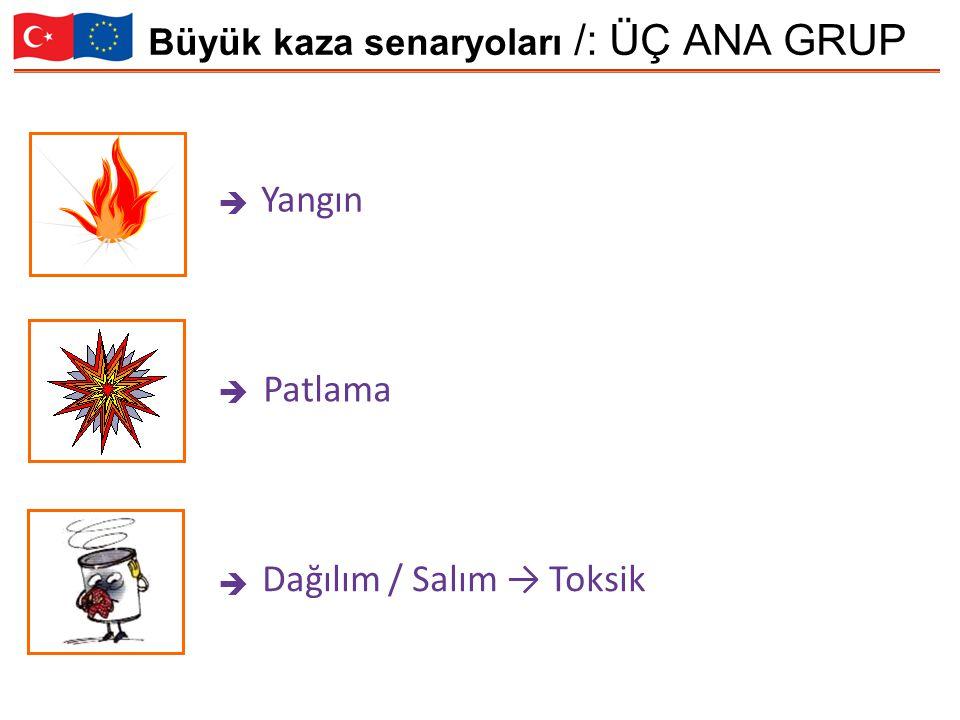 Büyük kaza senaryoları /: ÜÇ ANA GRUP Yangın Patlama Dağılım / Salım → Toksik   