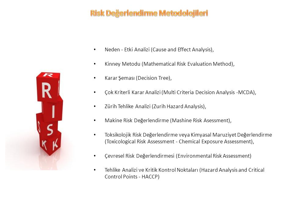 Kinney Metodu (Mathematical Risk Evaluation Method), Karar Şeması (Decision Tree), Çok Kriterli Karar Analizi (Multi Criteria Decision Analysis -MCDA), Zürih Tehlike Analizi (Zurih Hazard Analysis), Makine Risk Değerlendirme (Mashine Risk Asessment), Toksikolojik Risk Değerlendirme veya Kimyasal Maruziyet Değerlendirme (Toxicological Risk Assessment - Chemical Exposure Assessment), Çevresel Risk Değerlendirmesi (Environmental Risk Assessment) Tehlike Analizi ve Kritik Kontrol Noktaları (Hazard Analysis and Critical Control Points - HACCP)