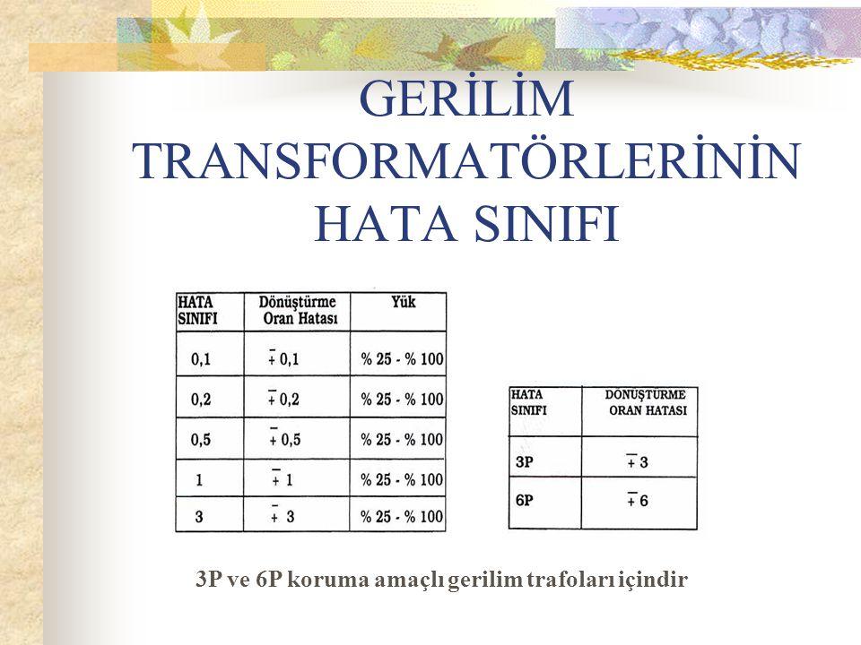 GERİLİM TRANSFORMATÖRLERİNİN HATA SINIFI 3P ve 6P koruma amaçlı gerilim trafoları içindir