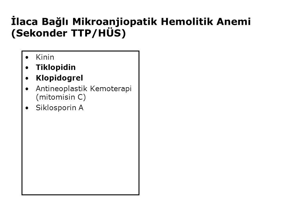 İlaca Bağlı Mikroanjiopatik Hemolitik Anemi (Sekonder TTP/HÜS) Kinin Tiklopidin Klopidogrel Antineoplastik Kemoterapi (mitomisin C) Siklosporin A