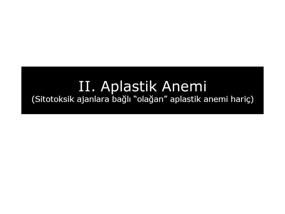 """II. Aplastik Anemi (Sitotoksik ajanlara bağlı """"olağan"""" aplastik anemi hariç)"""