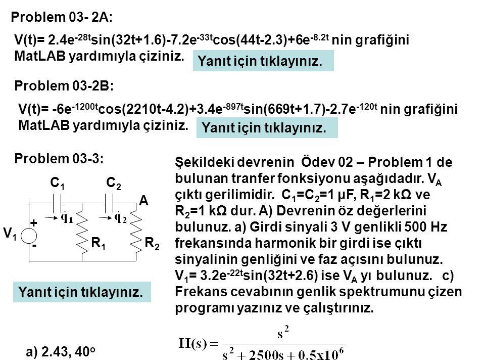 V(t)= 2.4e -28t sin(32t+1.6)-7.2e -33t cos(44t-2.3)+6e -8.2t nin grafiğini MatLAB yardımıyla çiziniz. Problem 03- 2A: V(t)= -6e -1200t cos(2210t-4.2)+