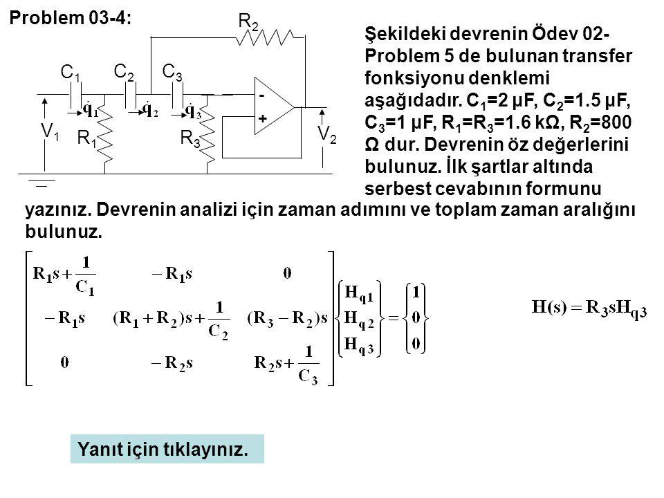 - + C3C3 C2C2 C1C1 R3R3 R1R1 R2R2 V2V2 V1V1 Problem 03-4: Yanıt için tıklayınız. Şekildeki devrenin Ödev 02- Problem 5 de bulunan transfer fonksiyonu
