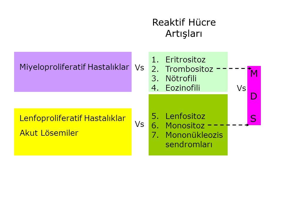Lenfoproliferatif Hastalıklar Miyeloproliferatif Hastalıklar Akut Lösemiler 1.Eritrositoz 2.Trombositoz 3.Nötrofili 4.Eozinofili 5.Lenfositoz 6.Monosi
