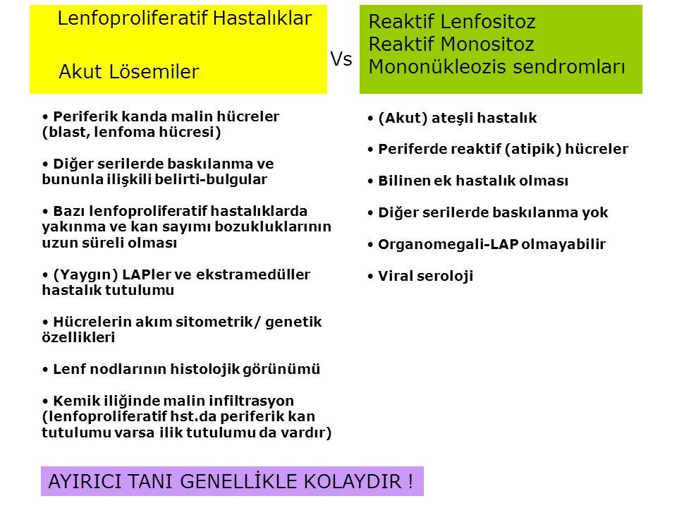 Reaktif Lenfositoz Reaktif Monositoz Mononükleozis sendromları Vs Lenfoproliferatif Hastalıklar Akut Lösemiler Periferik kanda malin hücreler (blast,