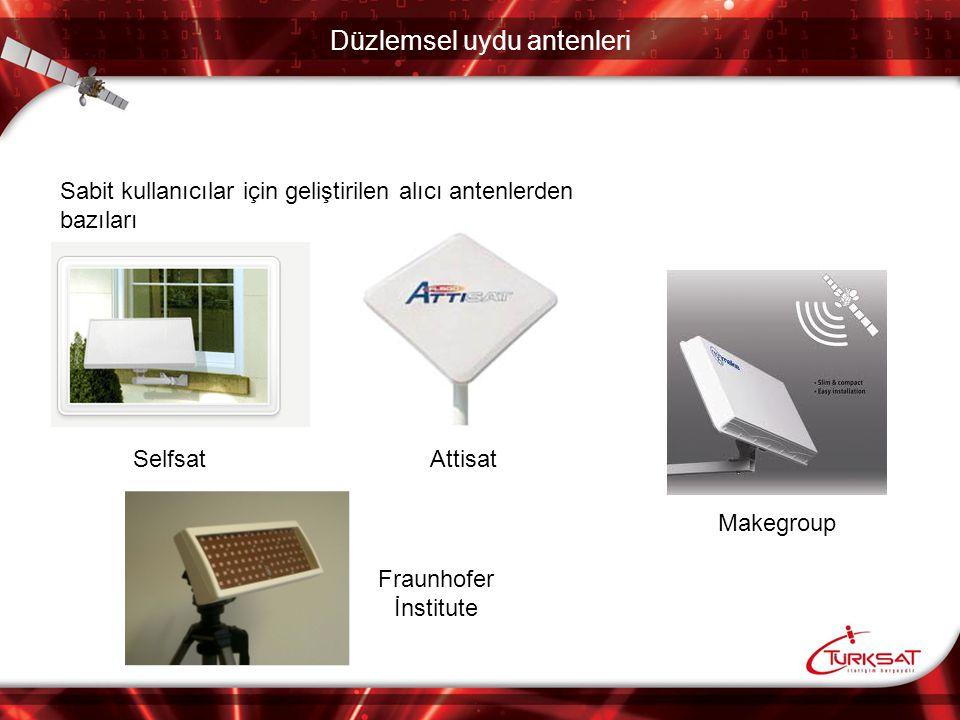Türksat uydu alıcı anten isterleri Türksatın tasarım faliyetlerini sürdürdüğü uydu alıcı anteninin isterleri: ParametreDeğerUnit Frekans aralığı10,70 - 12,75GHz Yansıma katsayısı-10dB Anten kazancı33dBi Çapraz pol.