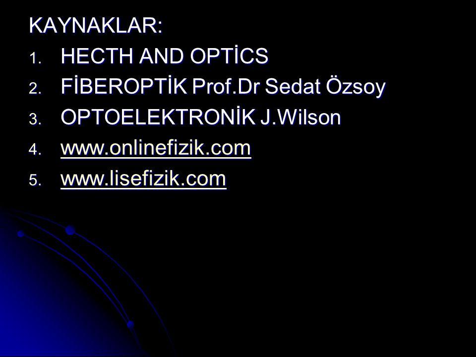 KAYNAKLAR: 1. HECTH AND OPTİCS 2. FİBEROPTİK Prof.Dr Sedat Özsoy 3. OPTOELEKTRONİK J.Wilson 4. www.onlinefizik.com www.onlinefizik.com 5. www.lisefizi