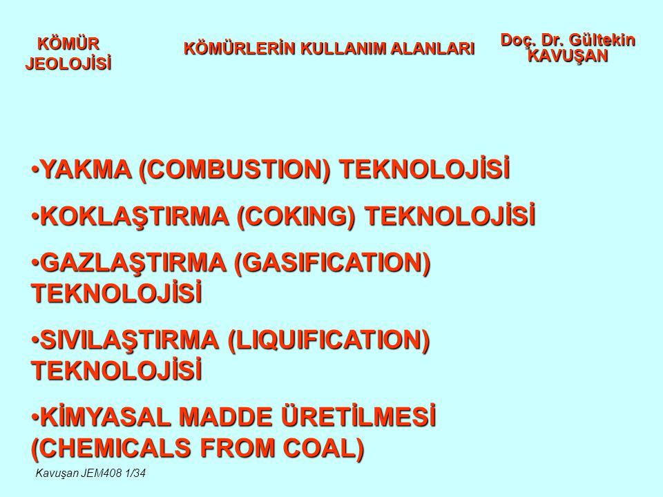 KÖMÜR JEOLOJİSİ Doç. Dr. Gültekin KAVUŞAN KÖMÜRLERİN KULLANIM ALANLARI YAKMA (COMBUSTION) TEKNOLOJİSİYAKMA (COMBUSTION) TEKNOLOJİSİ KOKLAŞTIRMA (COKIN