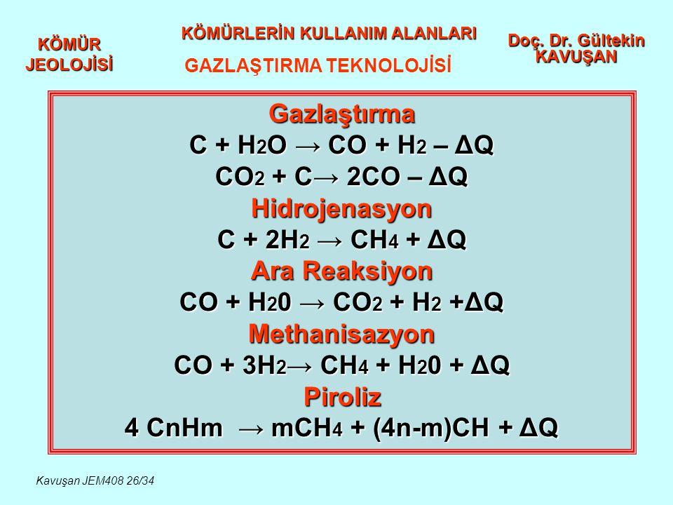KÖMÜR JEOLOJİSİ Doç. Dr. Gültekin KAVUŞAN KÖMÜRLERİN KULLANIM ALANLARI GAZLAŞTIRMA TEKNOLOJİSİ Gazlaştırma C + H 2 O → CO + H 2 – ΔQ CO 2 + C→ 2CO – Δ