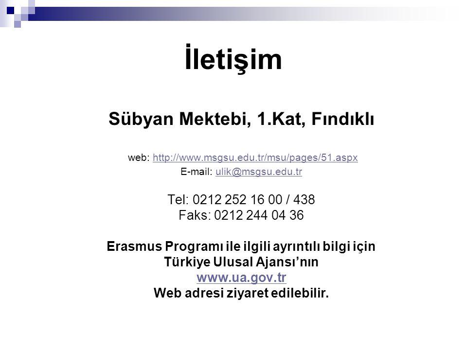 İletişim Sübyan Mektebi, 1.Kat, Fındıklı web: http://www.msgsu.edu.tr/msu/pages/51.aspxhttp://www.msgsu.edu.tr/msu/pages/51.aspx E-mail: ulik@msgsu.edu.trulik@msgsu.edu.tr Tel: 0212 252 16 00 / 438 Faks: 0212 244 04 36 Erasmus Programı ile ilgili ayrıntılı bilgi için Türkiye Ulusal Ajansı'nın www.ua.gov.tr Web adresi ziyaret edilebilir.