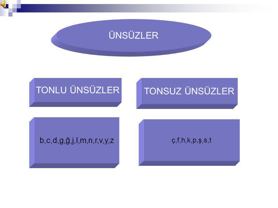 ÜNSÜZLER TONLU ÜNSÜZLER TONSUZ ÜNSÜZLER b,c,d,g,ğ,j,l,m,n,r,v,y,z ç,f,h,k,p,ş,s,t