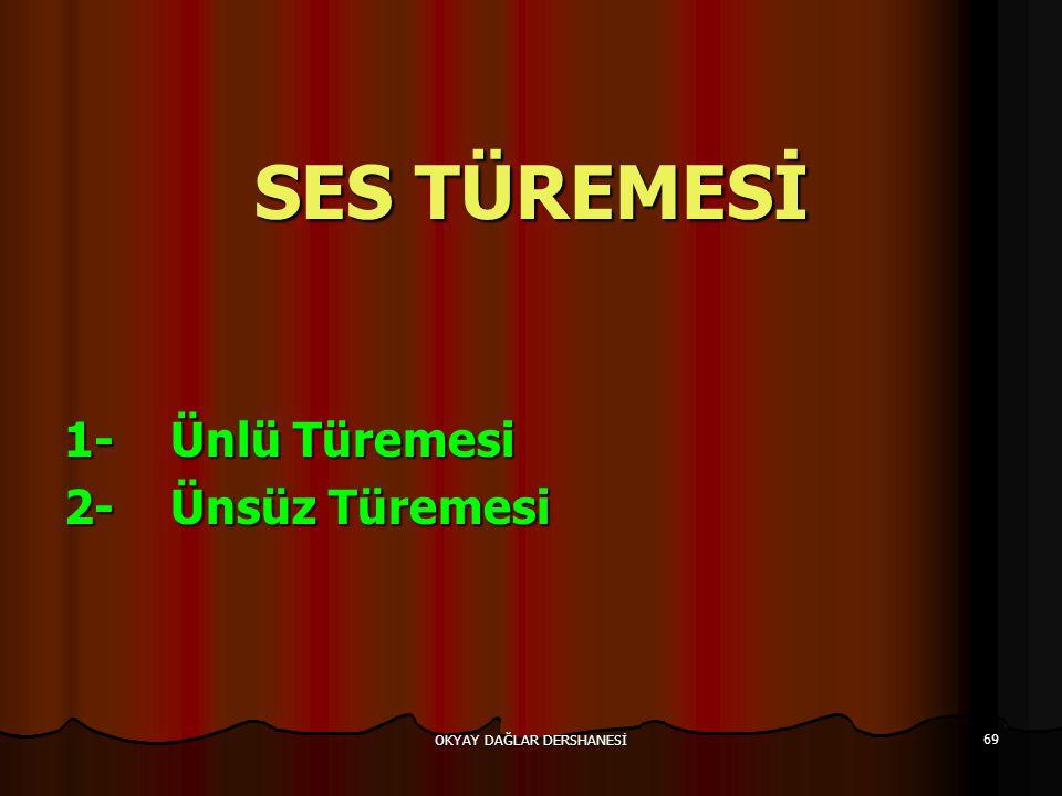 OKYAY DAĞLAR DERSHANESİ 69 SES TÜREMESİ 1-Ünlü Türemesi 2-Ünsüz Türemesi