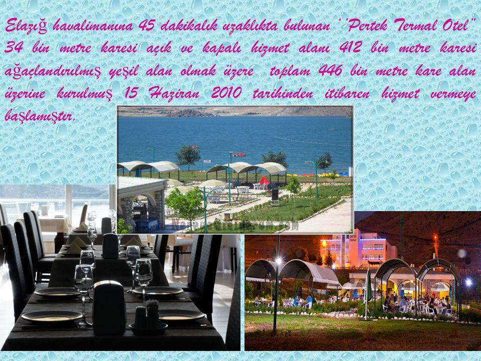 Elazı ğ havalimanına 45 dakikalık uzaklıkta bulunan ''Pertek Termal Otel'' 34 bin metre karesi açık ve kapalı hizmet alanı 412 bin metre karesi a ğ aç