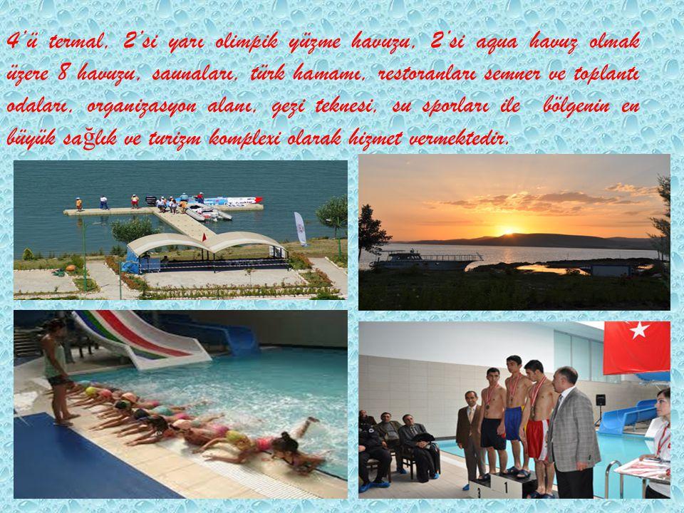 4'ü termal, 2'si yarı olimpik yüzme havuzu, 2'si aqua havuz olmak üzere 8 havuzu, saunaları, türk hamamı, restoranları semner ve toplantı odaları, org