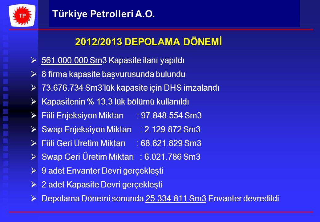 Türkiye Petrolleri A.O.   561.000.000 Sm3 Kapasite ilanı yapıldı   8 firma kapasite başvurusunda bulundu   73.676.734 Sm3'lük kapasite için DHS