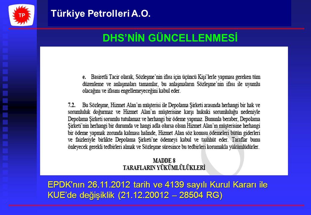 Türkiye Petrolleri A.O. DHS'NİN GÜNCELLENMESİ EPDK'nın 26.11.2012 tarih ve 4139 sayılı Kurul Kararı ile KUE'de değişiklik (21.12.20012 – 28504 RG) 201