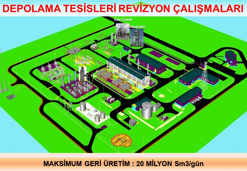Gas Cooler Absorber Separator DEPOLAMA TESİSLERİ REVİZYON ÇALIŞMALARI MAKSİMUM GERİ ÜRETİM : 20 MİLYON Sm3/gün