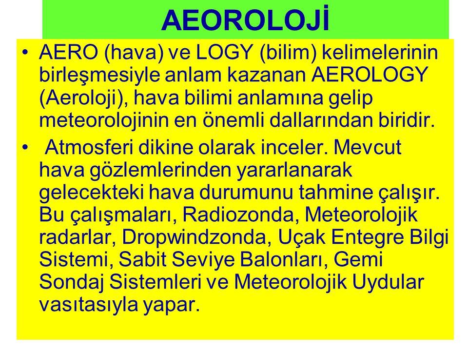 AEOROLOJİ AERO (hava) ve LOGY (bilim) kelimelerinin birleşmesiyle anlam kazanan AEROLOGY (Aeroloji), hava bilimi anlamına gelip meteorolojinin en önemli dallarından biridir.