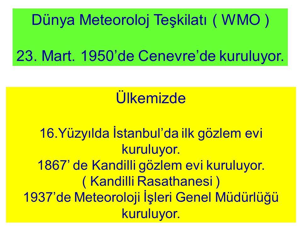 Dünya Meteoroloj Teşkilatı ( WMO ) 23.Mart. 1950'de Cenevre'de kuruluyor.