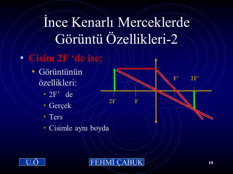 15 / 03 /2001Hazırlayan: Sevim Uslusoy9 2FFF'2F' o İnce Kenarlı Merceklerde Görüntü Özellikleri: 1 Cisim 2F ' nin dışında ise; Görüntünün özellikleri