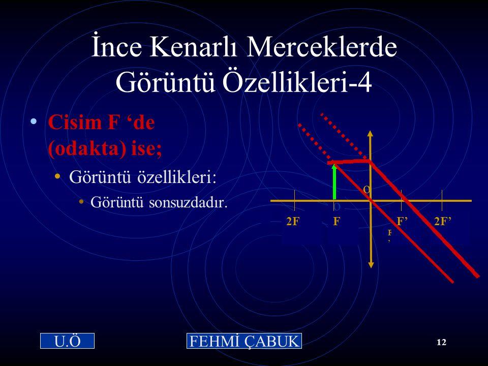 15 / 03 /2001Hazırlayan: Sevim Uslusoy11 İnce Kenarlı Merceklerde Görüntü Özellikleri-3: Cisim 2F ile F arasında ise; Görüntünün özellikleri: 2F' nün