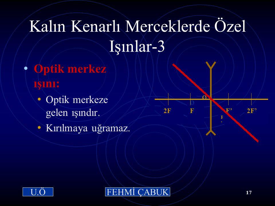 15 / 03 /2001Hazırlayan: Sevim Uslusoy16 Kalın Kenarlı Merceklerde Özel Işınlar-2: Odak ışını: Uzantısı odaktan geçecekmiş gibi gelen ışındır. Kırıldı
