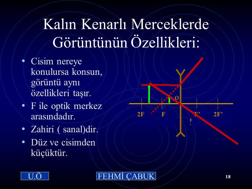 15 / 03 /2001Hazırlayan: Sevim Uslusoy17 Kalın Kenarlı Merceklerde Özel Işınlar-3 Optik merkez ışını: Optik merkeze gelen ışındır. Kırılmaya uğramaz.