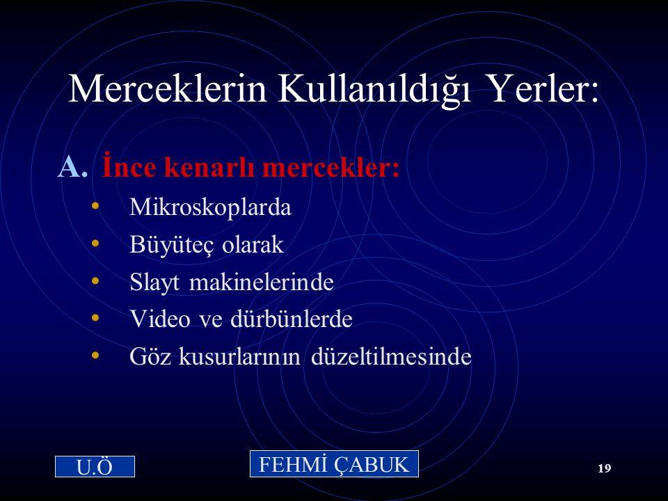 15 / 03 /2001Hazırlayan: Sevim Uslusoy18 Kalın Kenarlı Merceklerde Görüntünün Özellikleri: Cisim nereye konulursa konsun, görüntü aynı özellikleri taş