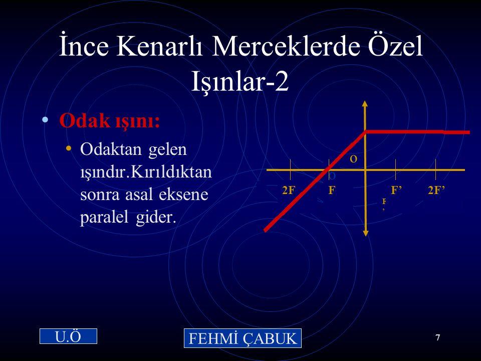 15 / 03 /2001Hazırlayan: Sevim Uslusoy6 İnce Kenarlı Merceklerde Özel Işınlar-1 Paralel ışın: Asal eksene paralel gelen ışındır.Kırıldıktan sonra odak