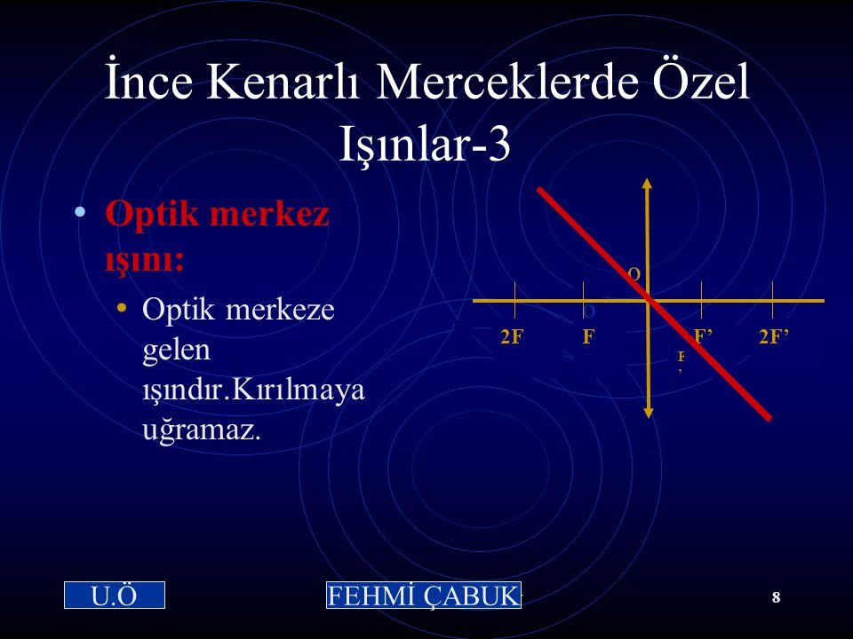 15 / 03 /2001Hazırlayan: Sevim Uslusoy7 İnce Kenarlı Merceklerde Özel Işınlar-2 Odak ışını: Odaktan gelen ışındır.Kırıldıktan sonra asal eksene parale