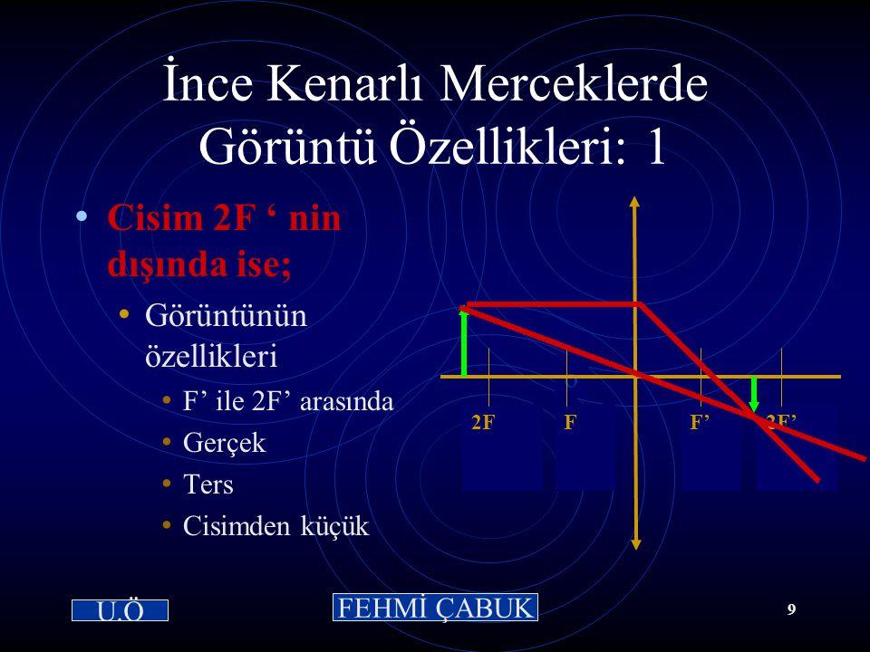 15 / 03 /2001Hazırlayan: Sevim Uslusoy8 İnce Kenarlı Merceklerde Özel Işınlar-3 Optik merkez ışını: Optik merkeze gelen ışındır.Kırılmaya uğramaz. o F