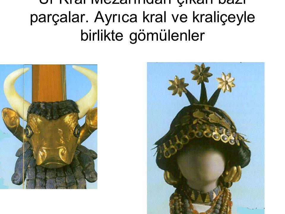 Ur Kral Mezarından çıkan bazı parçalar. Ayrıca kral ve kraliçeyle birlikte gömülenler