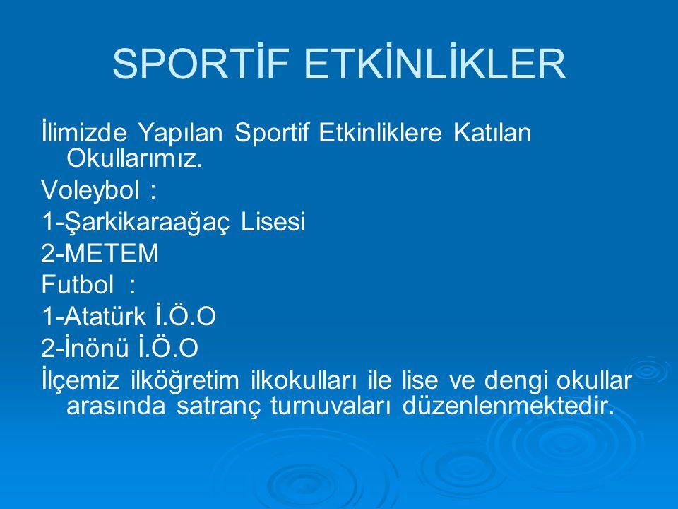 SPORTİF ETKİNLİKLER İlimizde Yapılan Sportif Etkinliklere Katılan Okullarımız. Voleybol : 1-Şarkikaraağaç Lisesi 2-METEM Futbol : 1-Atatürk İ.Ö.O 2-İn