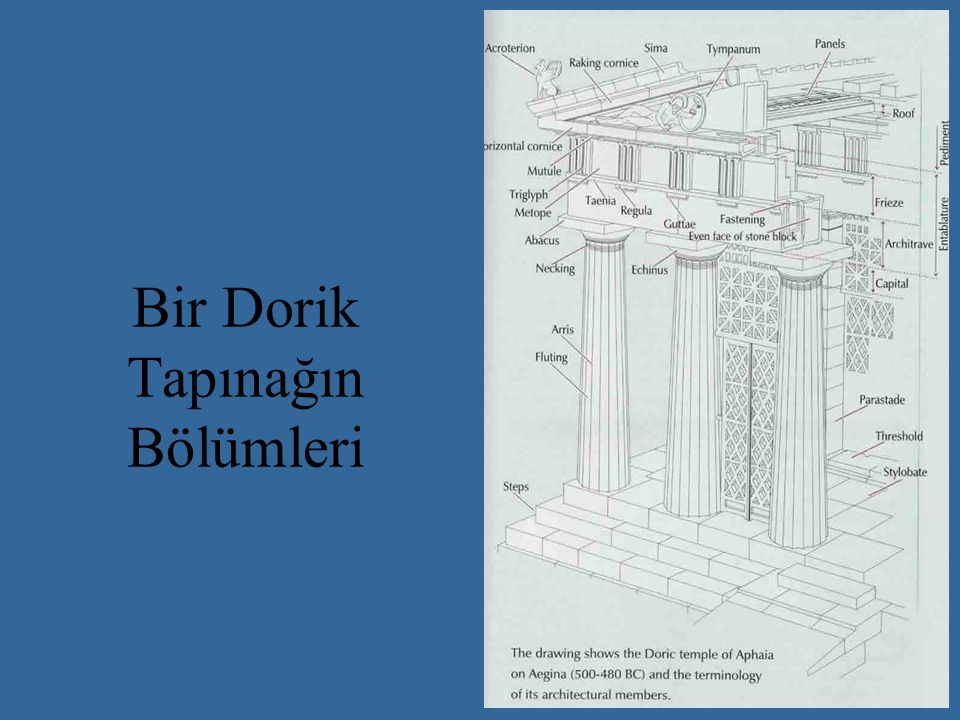 Zeus Tapınağı M.Ö.472-456. Mimar Libon. 6X13 sütunlu 27,70X64,10.