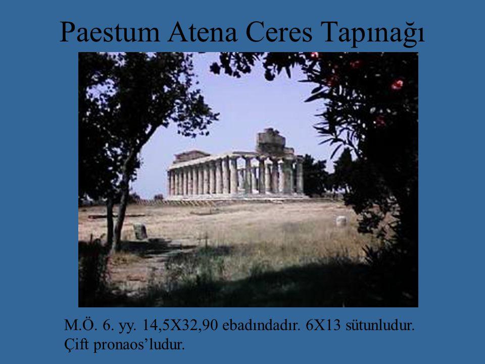 Paestum Atena Ceres Tapınağı M.Ö.6. yy. 14,5X32,90 ebadındadır.