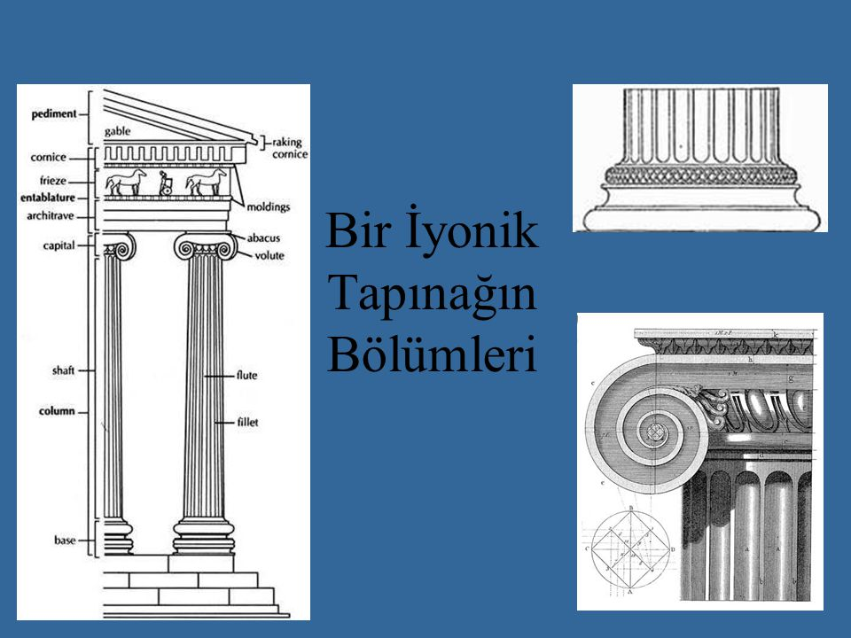 Bir İyonik Tapınağın Bölümleri