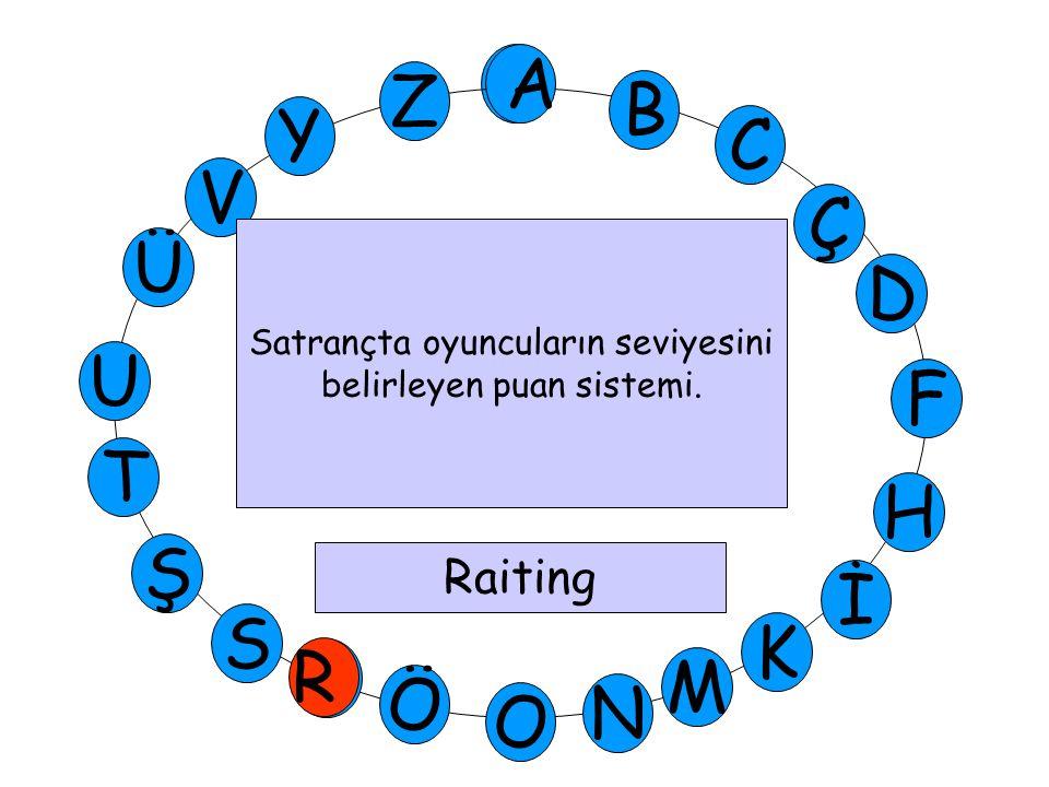 A M Ü V Y Z D Ç C B A U T H F Ş P Ö O İ K N S Satrançta oyuncuların seviyesini belirleyen puan sistemi. Raiting R